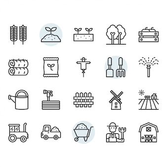 Farming and agriculture icon and symbol set in outline