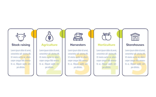 Farming and agriculture infographics design with line icons