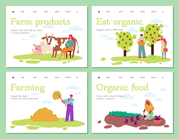 Farming and agriculture landing page set