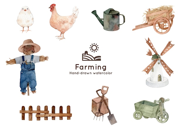 Farming and agriculture theme watercolor illustration