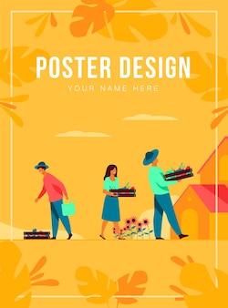 農業と農業の概念。農園からの野菜と一緒に木枠を運んで、木の下で果物を摘む農民。ガーデニング、秋、収穫期のトピックのイラスト