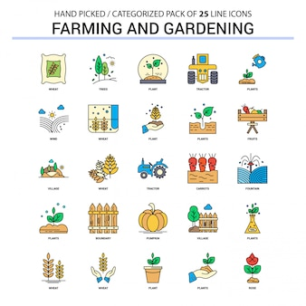Farming and Gardening Flat Line Icon Set