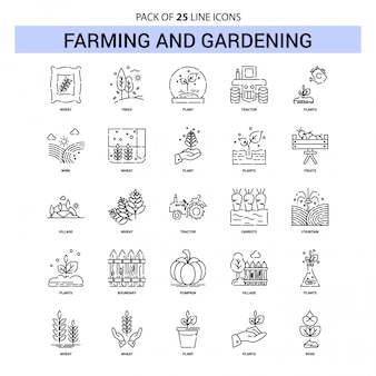 Farming and Gardening Line Icon Set - 25 Dashed Outline Style