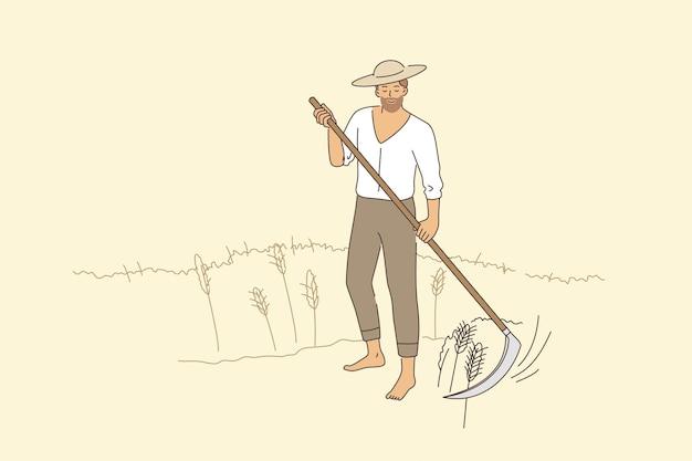 농업과 농촌 농업 개념입니다. 8월 수확 벡터 삽화에서 맨발로 서 있는 모자를 쓴 젊은 웃는 남자 농부가 호밀을 깎고 있다