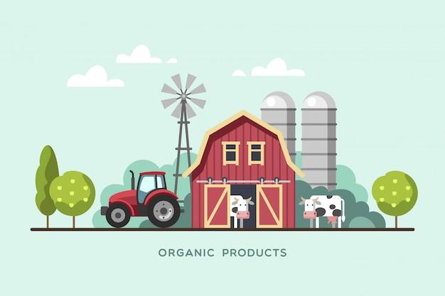 Сельское хозяйство фон с сараем, ветряной мельницей, трактором и коровами. органические продукты, концепция свежих продуктов фермы. иллюстрации.