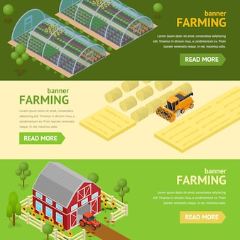 Farming banner card horizontal set concept can be used for agriculture business