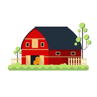 干し草-イラストを格納するためのフラットの納屋を農業。赤い牧場フェンスツリー
