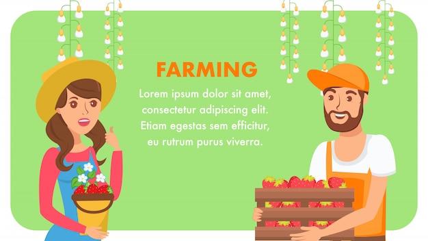 Farming business web banner flat template