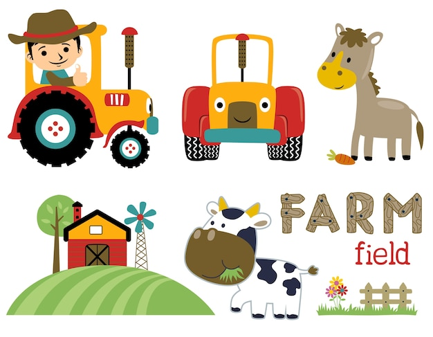 Farming cartoon vector set collection