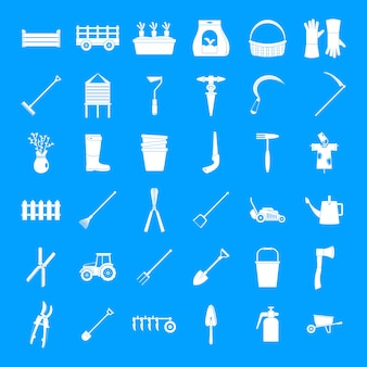 Farming equipment garden icons set, simple style