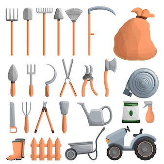 Farming equipment icon set, cartoon style