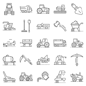 Farming equipment icon set. outline set of farming equipment vector icons