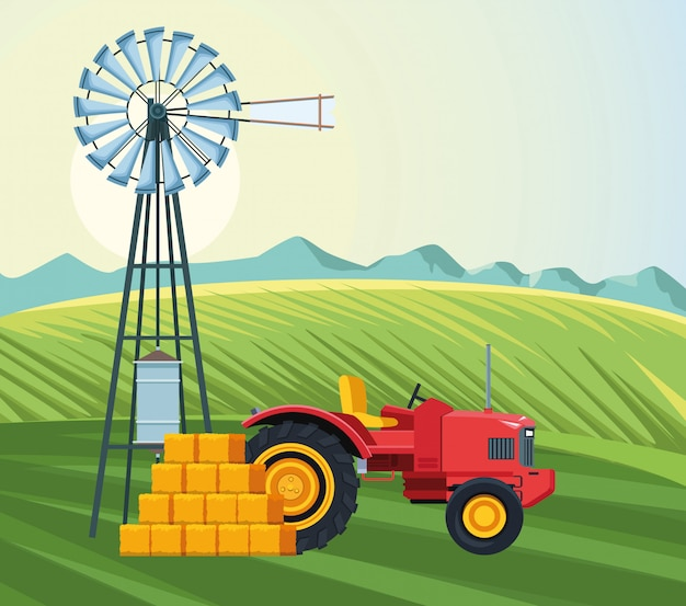 Farming field with tractor windmill and bales of hay farm