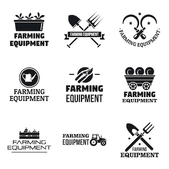 Farming garden equipment logo set