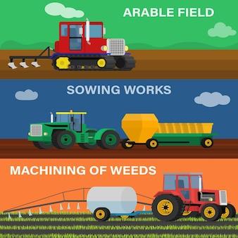 농업 차량 및 농기계의 농업 가로 배너 세트. 씨 뿌리기, 재배 및 관리 과정의 그림.