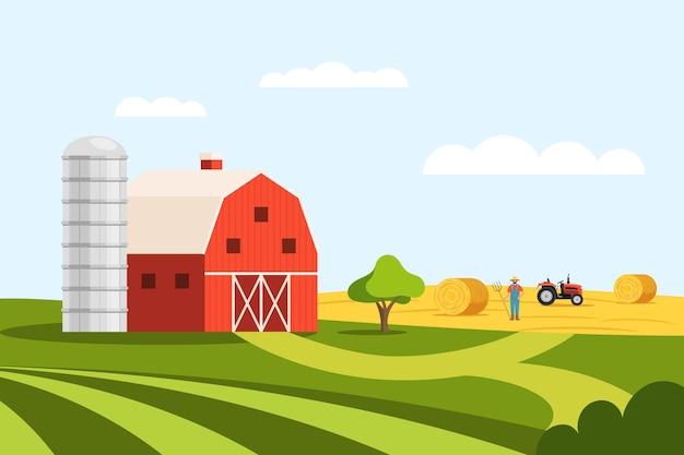 Farming land scenery and farmer harvesting on meadow. rustic scene with farmhouse barn, tractor and lush pasture grassland plantation cartoon agricultural idyllic farmland vector illustration