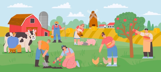 Farming landscape with workers. countryside farmer community feed animals, milk cow and grow vegetables and fruits. flat farm vector concept. agriculture farming countryside with people illustration