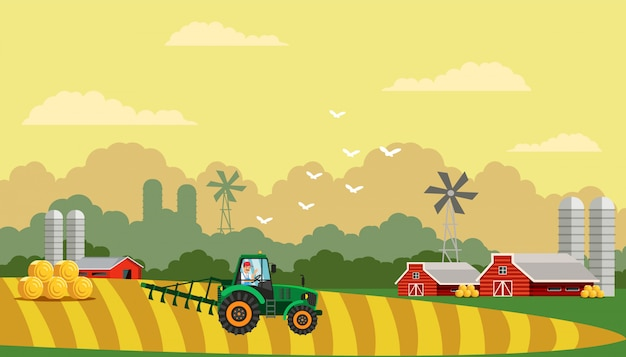 Farming life flat vector illustration