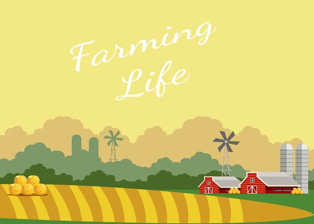 Farming life flat vector poster with lettering