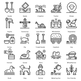 Farming line icons pack