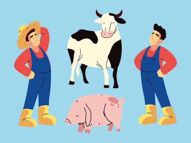 Farming man and animals