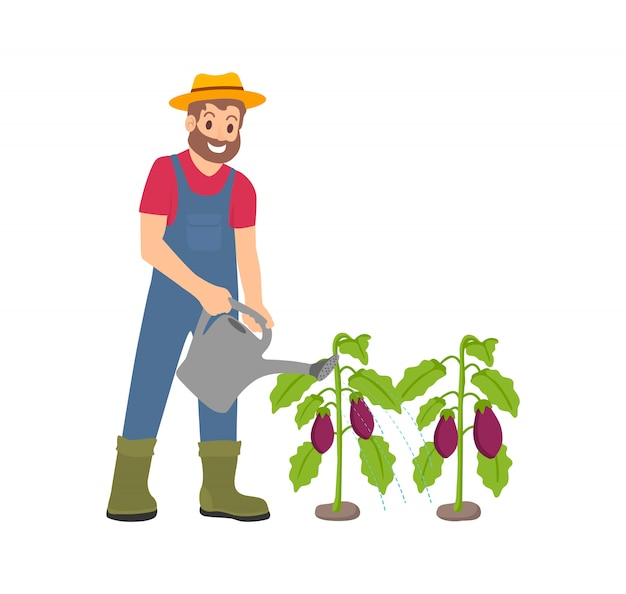 Farming man with watering can vector illustration