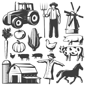 Farming monochrome elements set