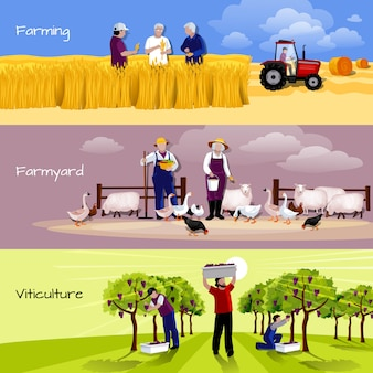 Farming people 3 flat horizontal banners set