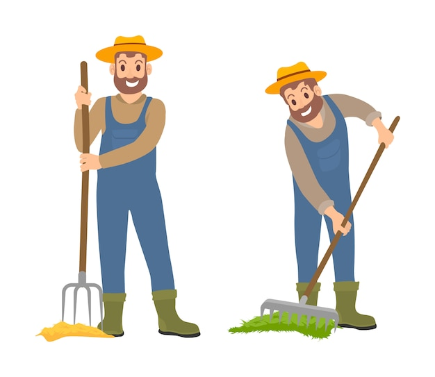 Farming people with rake set illustration