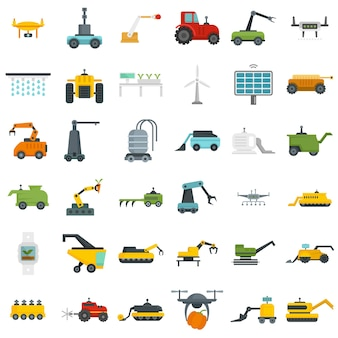 Farming robot icons set. flat set of farming robot vector icons isolated on white background