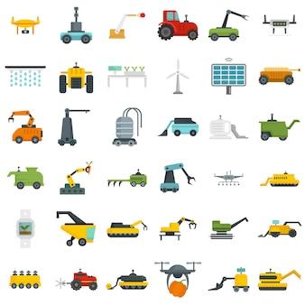 Набор иконок сельскохозяйственных роботов. плоский набор сельскохозяйственных роботов векторные иконки, изолированные на белом фоне