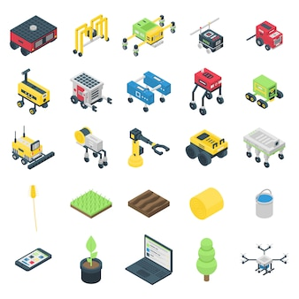 Farming robot icons set, isometric style