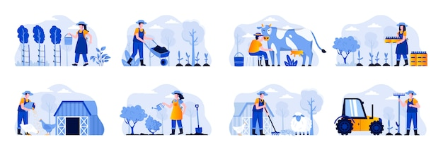 Farming scenes bundle with people characters. farmers planting and watering crops, gathering harvest, feeding farm animals and milking cow situations. agricultural workers flat illustration.