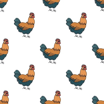 Farming seamless pattern rooster