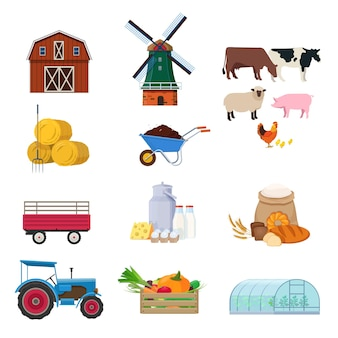 Farming set with agricultural buildings transport animals products and equipment