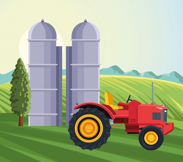 Farming silo storage tractor tree mountains filed landscape