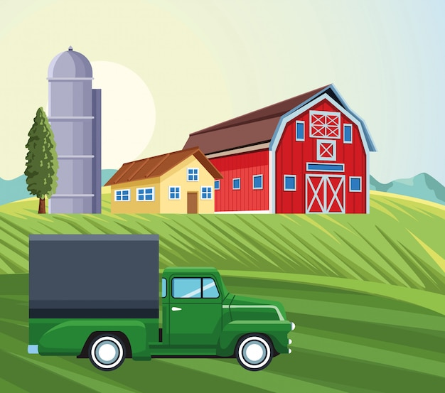 Farming silo storehouse pickup truck house barn field