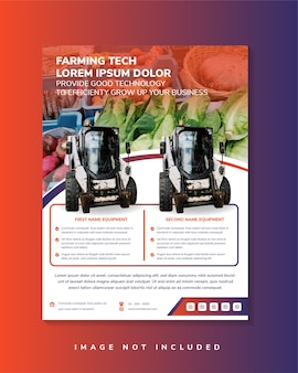 Farming technology flyer template design vertical layout with rectangle space for photo collage