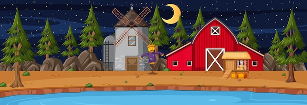 夜の納屋と風車のある農地の水平方向のシーン