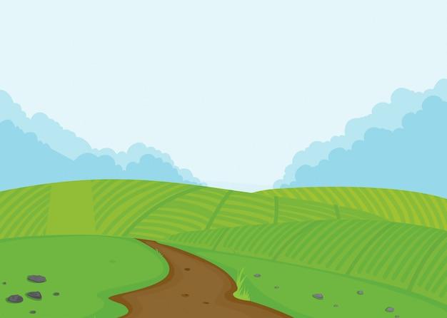 A farmland landscape background