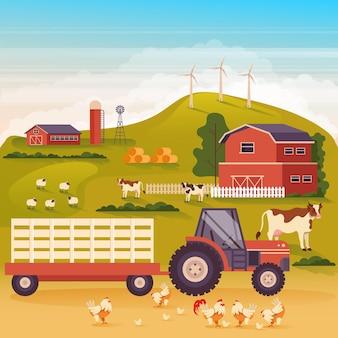 農地の風景の田園地帯の概念