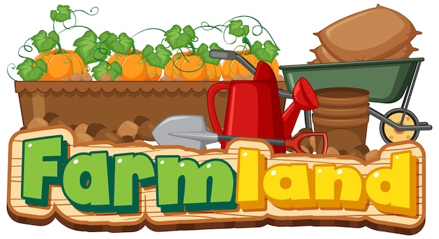 Farmland logo or banner with gardening tools isolated on white background