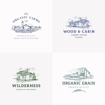 Farms and cabins abstract  signs, symbols or logo templates set.