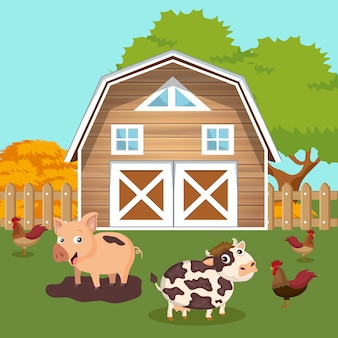 Farmyard with barn and animals scene