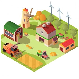 Farmyard with buildings and machines vector