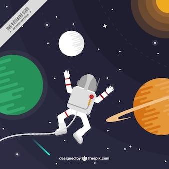 Очарованный астронавт в космическом фоне