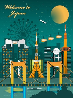 Fascinating japan night scene travel poster design