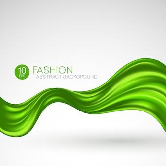 Зеленая летящая шелковая ткань. fashibackground