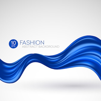 Синяя летающая шелковая ткань. fashibackground