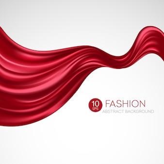 Красная летящая шелковая ткань. fashibackground